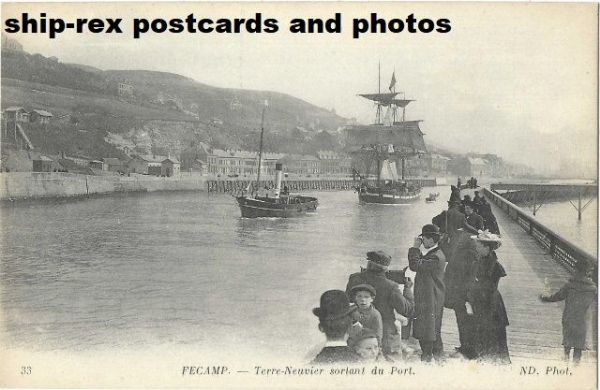 Fecamp (Normandy) a ship departs, postcard